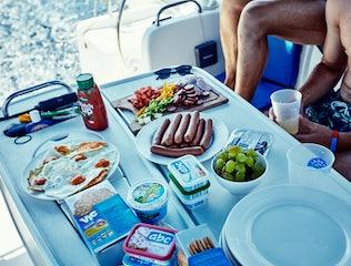 Breakfast onboard a yacht
