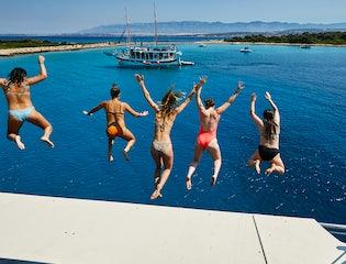 Daily swim stop on a Croatia Cruise