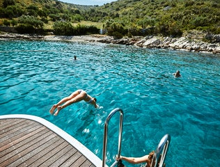 Swimming in a secluded Croatian bay