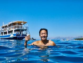 Enjoying a drink in the Adriatic Sea